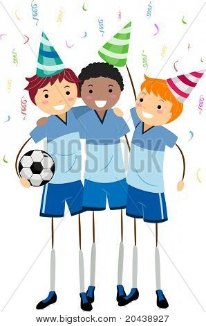 Illustration of Soccer Players Celebrating Their Friend's Birthday
