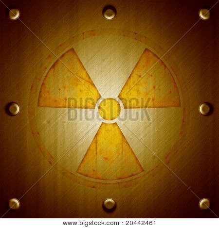 Radiation Sign On Metal Surface Background