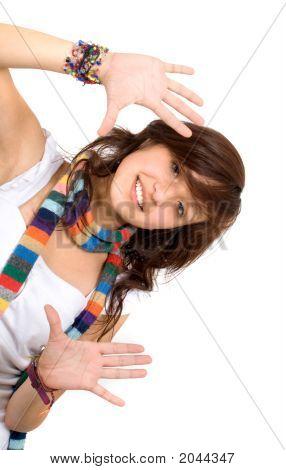 Funky Girl Doing A Handframe
