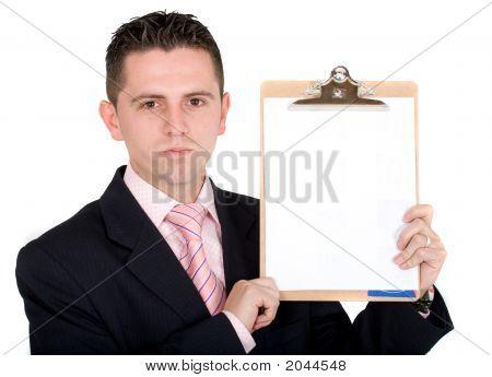 Business Man Holding Pad