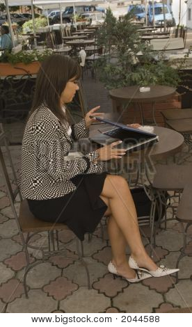 Businesswoman On The Terrace