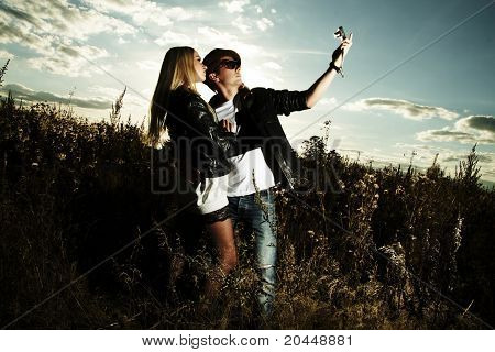 Fashion Man And Woman In Field