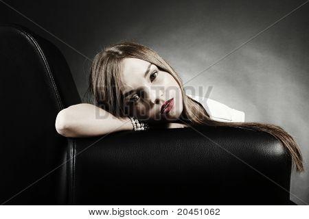 Woman Lying Sofa