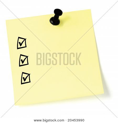 Yellow Sticker Checklist, Black Check Boxes And Tick Marks, Thumbtack Pushpin Isolated