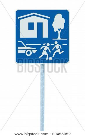 Home Zone Entry Sign Isolated Residential Area Road Traffic Roadsign