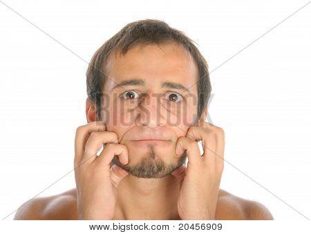 surprised man scratch face