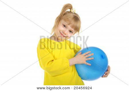 Little girl with blue ball
