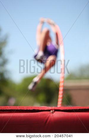 Pole Vaulter (focus on the mat)