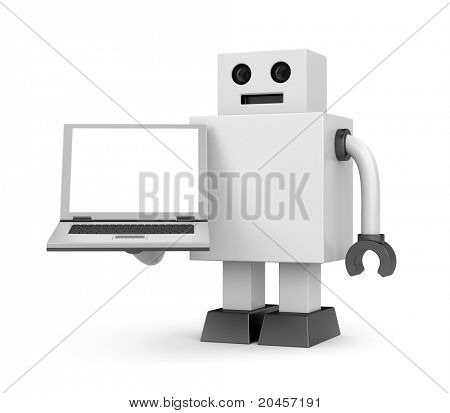 Robot businessman with notebook