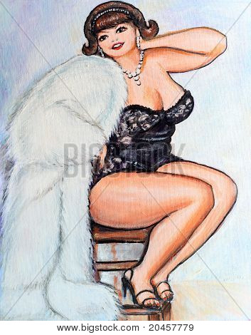 Curvy Pin Up Woman Painting