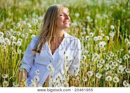 Caucasian blond woman outdoor