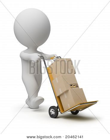3D Small People - Hand Truck
