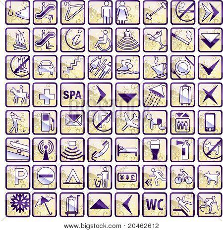 Vector Set Of 64 Stylish Hotel Icons