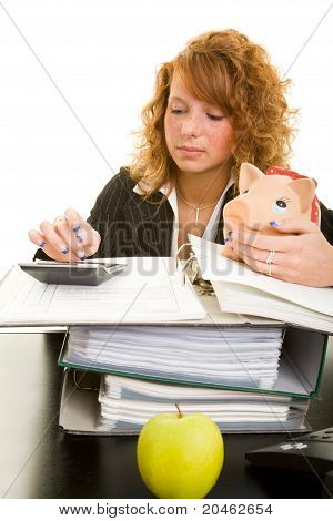 Woman With Calculator And Piggy Bank