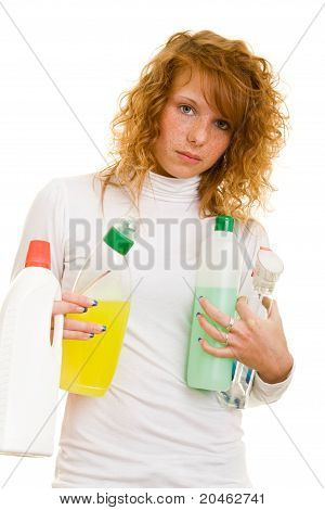 Woman With Detergents