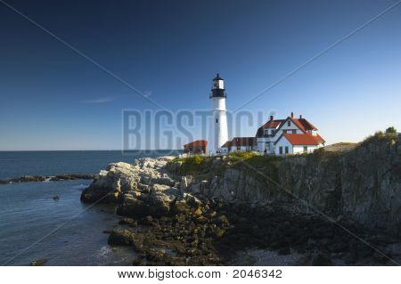 Lighthouses Of New England During Their Famous Autumn