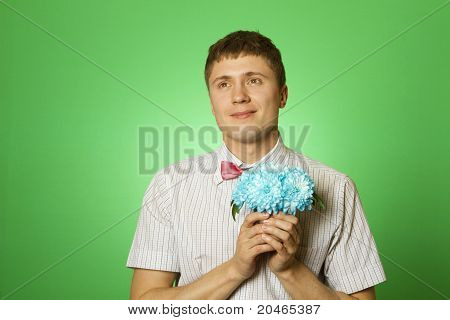 "Parody lover man ""nerd"" with a bouquet of flowers"