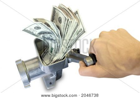 Hand And Grinder With Dollars