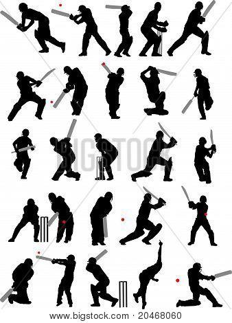 25 poses de cricket de detalle en silueta