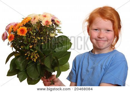 Girl holding flowers