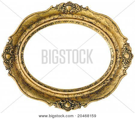 Old gilded golden wooden frame isolated with clipping path inside and outside