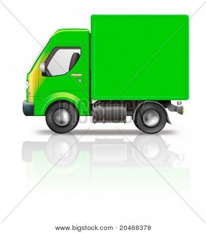 ilustração de caminhão de entrega do caminhão verde isolado no branco com espaço de cópia vazia no lado conceito f