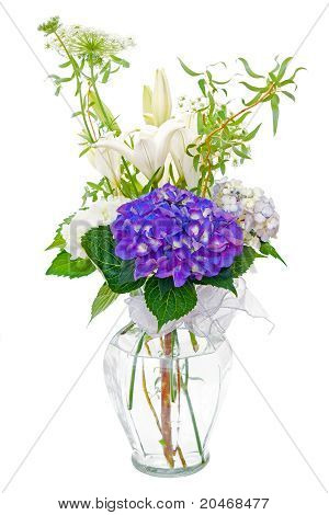Hydrangea and lily sympathy flower