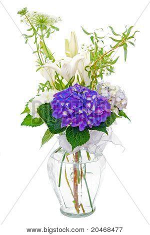 Hydrangea and lily sympathy flower