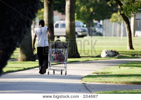 Homeless Man Walking In Park With Shopping Cart