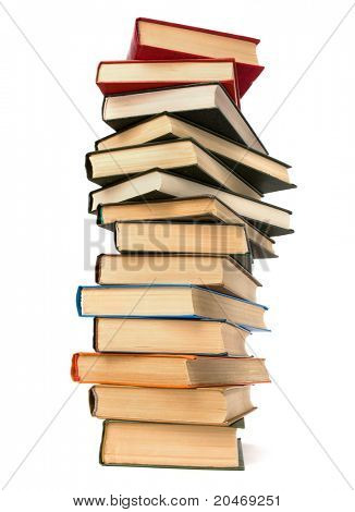 book stack isolated on  white background