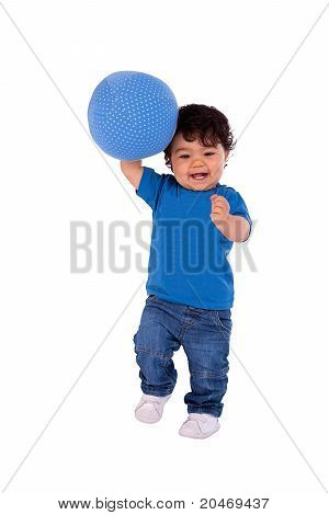 Beautiful And Happy Baby With A Ball, On White Background, Studio Shot