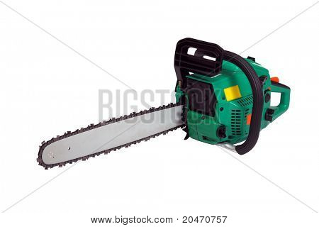 Green chainsaw on a white background.