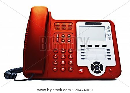 Red Ip Phone Closeup