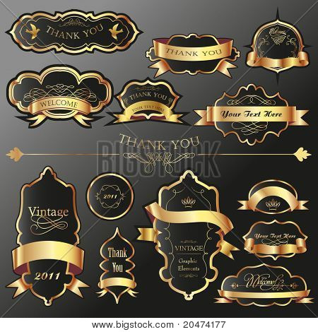 big set of luxury labels