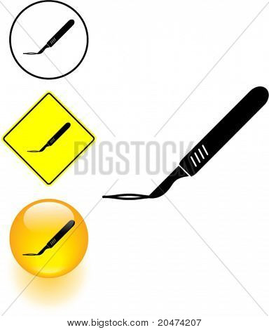 scalpel incision symbol sign and button