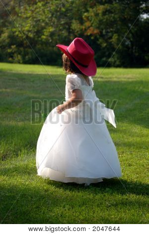 Flower Girl In Red Cowboy Hat