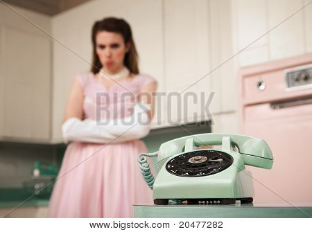 Bride Waiting By The Telephone