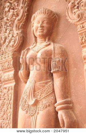 Statue On Wall In Angkor Wat