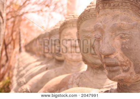 Statues In Wat In Cambodia