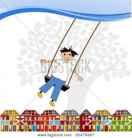 kid  on a swing (houses / tree)