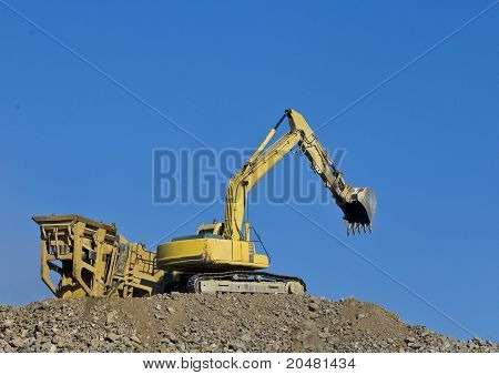 Earth moving equipment in action