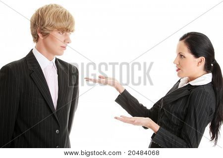 Work Colleagues arguing (woman shouting on man), isolated on white background
