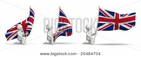 Flags of united kingdom waving in the wind