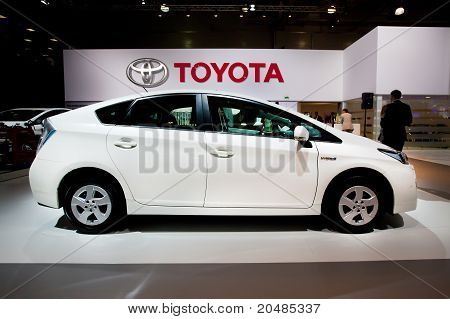 Moscow, Russia - August 25:  White Car Tayota Prius At Moscow International Exhibition Interauto On