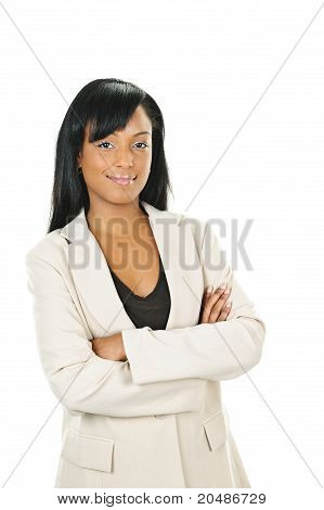 Zuversichtlich schwarz Businesswoman With Arms Crossed