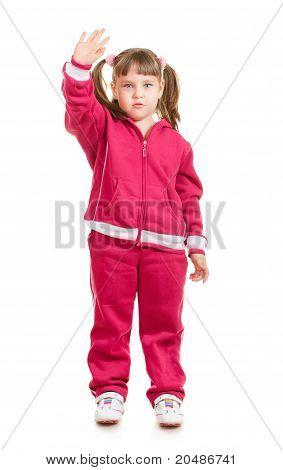 Cute Little Girl Waving