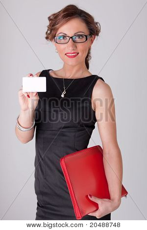 Businesswoman With Blank Business Card And Folder.