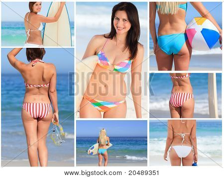 Bright Collage Made Of Seven Women Pictures On The Beach