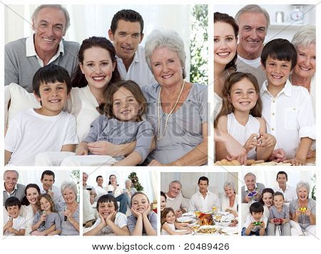 Collage Of A Whole Family Enjoying Sharing Moments Together At Home