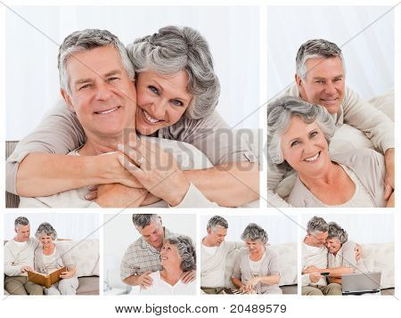 Collage Of An Elderly Couple Enjoying Moments At Home